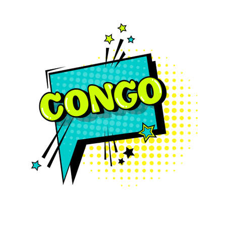 Comic Speech Chat Bubble Pop Art Style Congo Expression Text Icon Vector Illustration Illustration