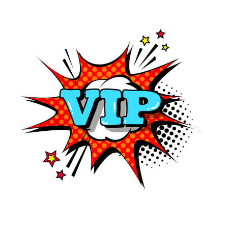 Comic Speech Chat Bubble Pop Art Style Vip Expression Text Icon Vector Illustration