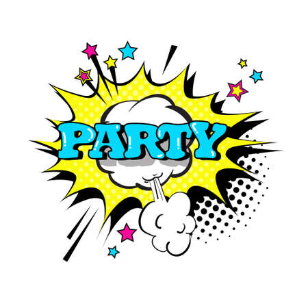 communication concept: Comic Speech Chat Bubble Pop Art Style Party Expression Text Icon Vector Illustration Illustration
