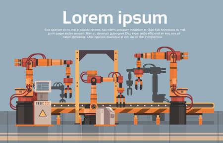 Illustrazione piana di vettore di concetto di industria di automazione industriale del macchinario della linea di montaggio automatica del trasportatore di produzione fabbrica