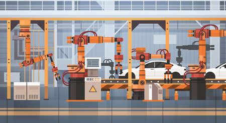 Convertisseur de production de voiture Ensemble d'assemblage automatique Machine Automatique industrielle Concept de l'industrie Plat Illustration vectorielle