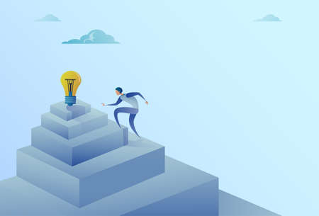 Business Man Climbing Stairs To Light Bulb New Idea Success Concept Flat Vector Illustration