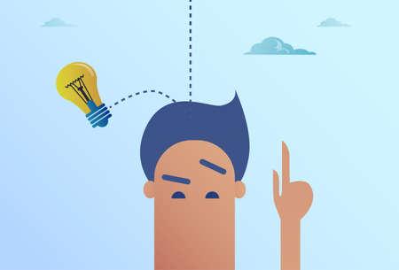 Light Bulb Falling On Business Man Head New Idea Concept Flat Vector Illustration
