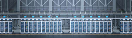 Data Center Room Hosting Server Computadora base de datos de información Sincronizar Tecnología Flat Vector Illustration