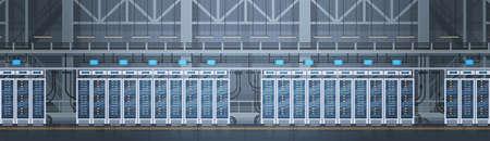 Data Center Room Hosting Server Computer Information Database Synchronize Technology Flat Vector Illustration Illustration