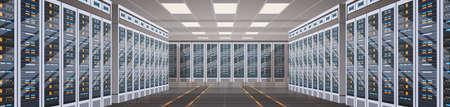 Centre de données hébergement serveur informatique données synchronisation ordinateur portable synchronisation plat illustration vectorielle Banque d'images - 83961031