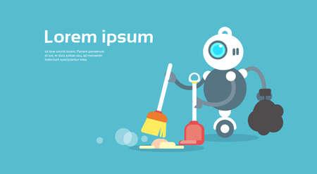 Modern Robot Sweeping Floor Artificial Intelligence Technology Concept Flat Vector Illustration Иллюстрация