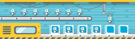 Robots Production Conveyor Automatic Assembly Machinery Industrial Automation Industry Flat Vector Illustration