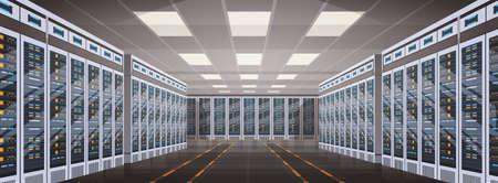 Data Center Room Hosting Server Computer Information Database Synchronize Technology Flat Vector Illustration Vettoriali