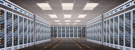 Data Center Room Hosting Server Computer Information Database Synchronize Technology Flat Vector Illustration Illustration