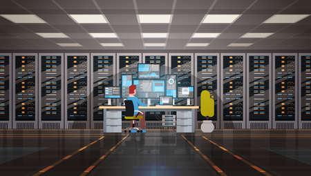 Man working in data center room illustration.