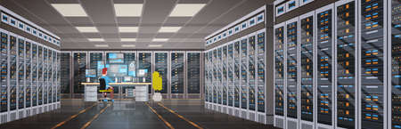 Man working in data center room illustration.