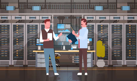 People Working In Data Center Room Hosting Server Computer Monitoring Information Database Flat Vector Illustration