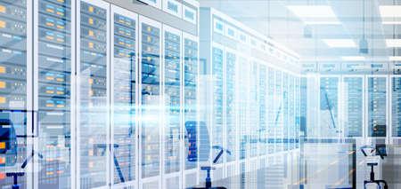 데이터 센터 룸 호스팅 서버 컴퓨터 정보 데이터베이스 동기화 기술 플랫 벡터 일러스트