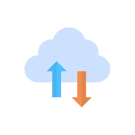 remote server: Cloud data synchronization icon computer connection database access synchronize technology illustration.