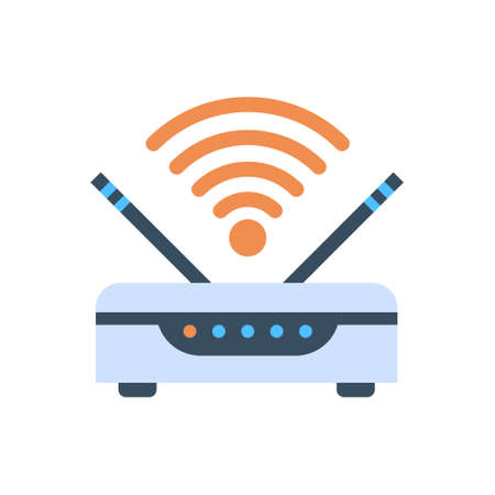 Wifi Router Wireless Internet Connection Icon Vector Illustration Çizim
