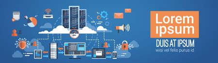 데이터 센터 클라우드 컴퓨터 연결 호스팅 서버 데이터베이스 동기화 기술 벡터 일러스트 레이션