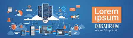 Data Center Cloud Computer Connection Hosting Server Database Synchronize Technology Vector Illustration