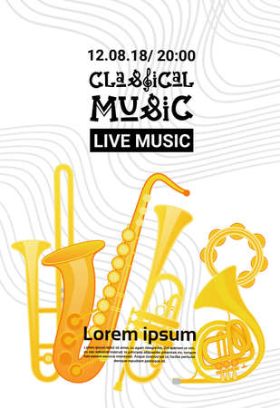 Jazz Festival Live Music Concert Poster Advertisement Retro Banner Vector Illustration Illustration