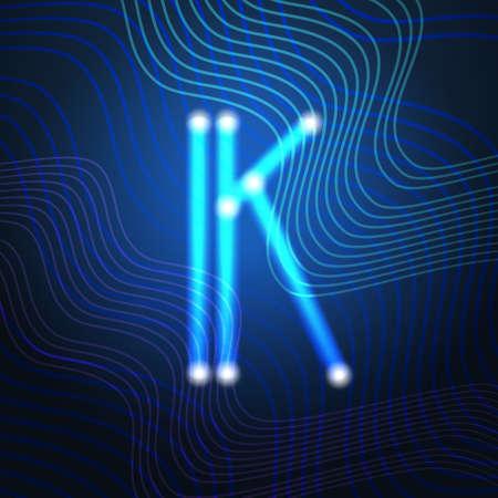 Neon Letter Capital Alphabet Text Lettering Vector Illustration Illustration