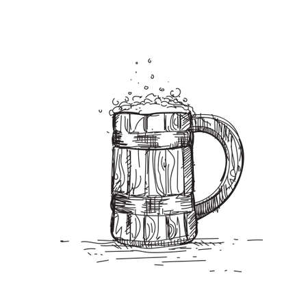 Beer Icon Sketch Wooden Mug Oktoberfest Festival Banner Vector Illustration Illustration