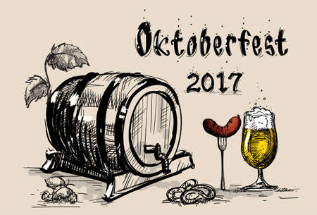 Beer Barrel Glass With Sausage Sketch Oktoberfest Festival BannerVector Illustration