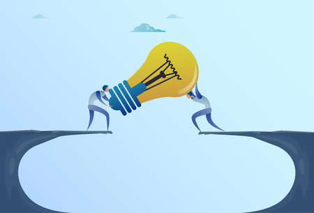 Business Men Giving Light Bulb Over Cliff Gap Partners Teamwork Cooperation New Idea Concept Flat Vector Illustration 矢量图像