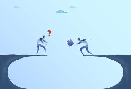 financial cliff: Two Businessmen Giving Documents Over Cliff Gap Mountain Business People Cooperation Help Teamwork Concept Flat Vector Illustration Illustration
