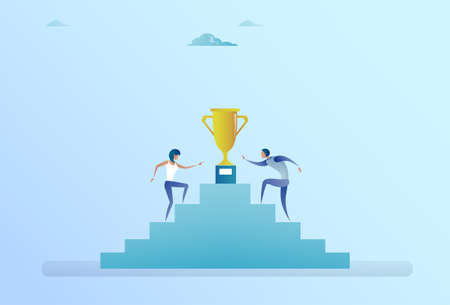 Business People Climbing Stairs Up To Golden Cup Winner Success Competition Concept Flat Vector Illustration Illustration