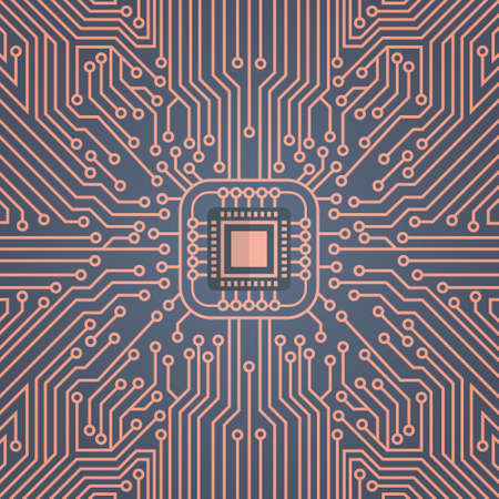 컴퓨터 칩 Moterboard 네트워크 데이터 센터 시스템 개념 배너 벡터 일러스트 레이션