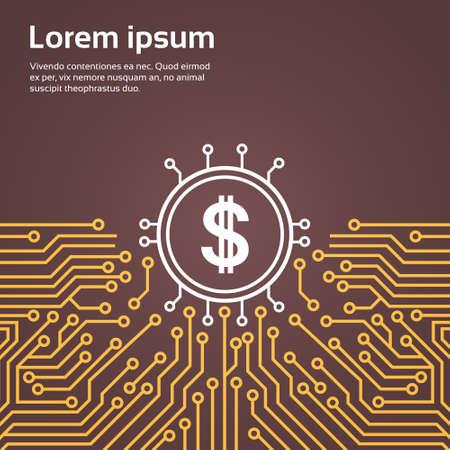 Dolar Sign Over Computer Chip Moterboard Backgroung Network Data Center System Concept Banner Vector Illustration Illustration
