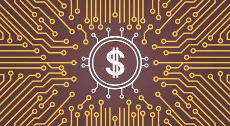 Dolar Sign Over Computer Chip Moterboard Backgroung Network Data Center System Concept Banner Vector Illustration