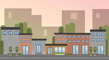 small business: City Building Houses Town View Silhouette Skyline Background Flat Vector Illustration
