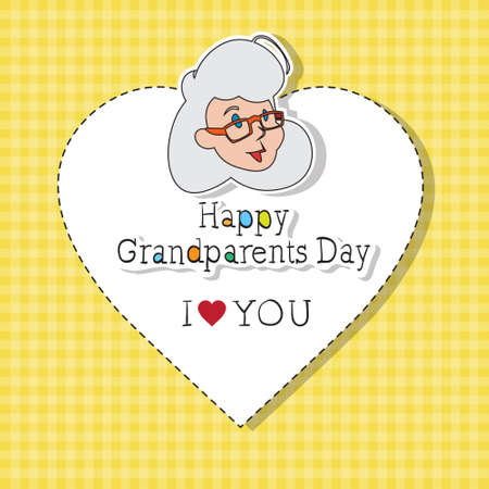 national women of color day: Happy Grandparents Day Greeting Card Colorful Banner Pop Art Style Vector Illustration