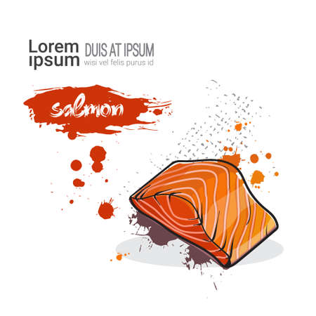salmon fillet: Salmon Hand Drawn Watercolor Food On White Background With Copy Space Vector Illustration