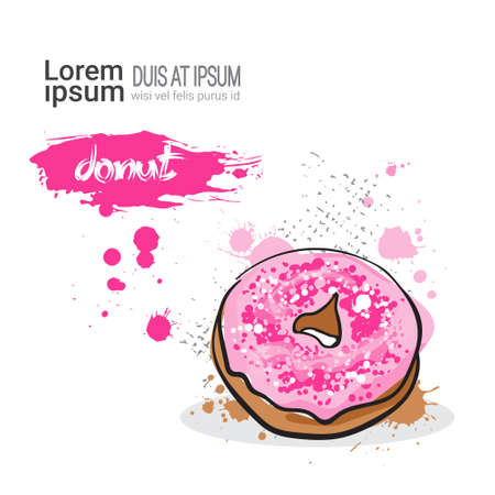 Donut Hand Drawn Watercolor Dessert Food On White Background With Copy Space Vector Illustration