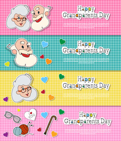 national women of color day: Happy Grandparents Day Greeting Cards Set Colorful Horizontal Banners Pop Art Style Illustration