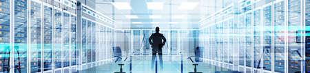 Silhouetmens in Gegevenscentrumzaal die het Detail van het de Informatiedatabase van de Servercomputer Vectorillustratie ontvangt.