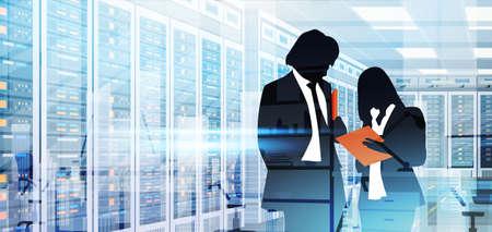 Silhouette People Working In Data Center Room Hosting Server Computer Information Database Flat Vector Illustration
