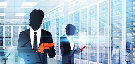 Silhouette personnes travaillant dans l & # 39 ; informatique de données serveur serveur serveur informatique informatique plat illustration vectorielle Banque d'images - 84588107