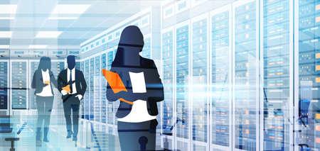 Gente de silueta que trabaja en la habitación de centro de datos que aloja la información de Vector plano de base de datos de información de equipo de servidor Ilustración de vector