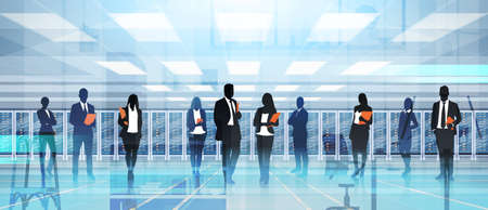 pc: Silhouette People Working In Data Center Room Hosting Server Computer Information Database Flat Vector Illustration