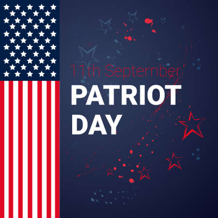 National USA Patriot Day United States Flag Banner Flat Vector Illustration