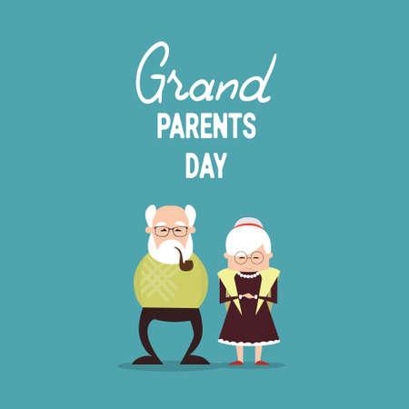 Happy Grandparents Day Greeting Card Banner Vector Illustration Illustration