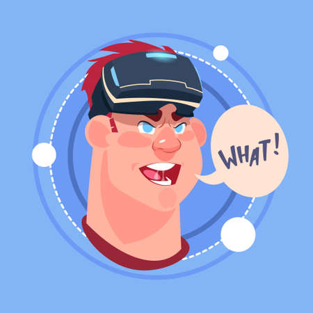 Man What Male Emoji Wearing 3d Virtual Glasses Emotion Icon Avatar Facial Expression Concept Vector Illustration