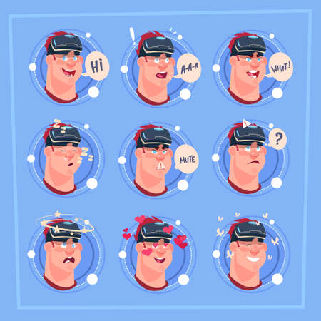 Man Different Face Male Emoji Wearing 3d Virtual Glasses Emotion Icon Avatar Facial Expression Concept Vector Illustration Illustration