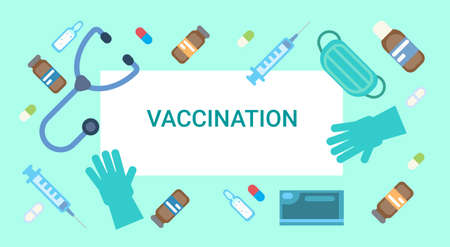 Vaccination Poster Medical Immunization Concept Clinic Healthcare Protection Flat Vector Illustration Фото со стока - 85196321
