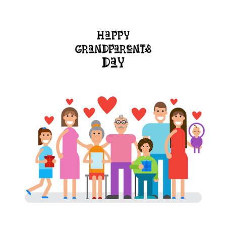 grandaughter: Family Together Happy Grandparents Day Greeting Card Banner Vector Illustration Illustration