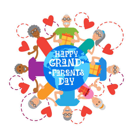 national women of color day: Happy Grandparents Day Greeting Card Banner Vector Illustration Illustration