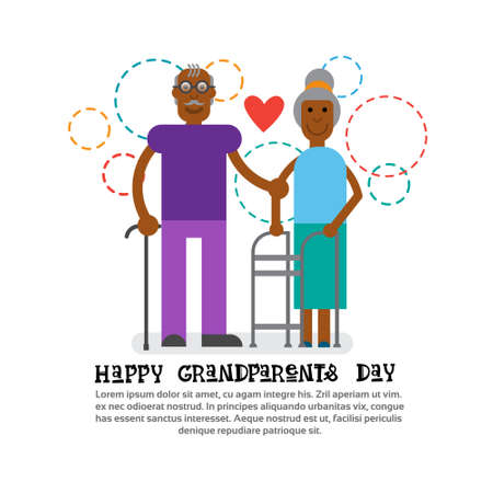grandaughter: Grandparents Couple Together Happy Grandmother And Grandfather Day Greeting Card Banner Vector Illustration Illustration